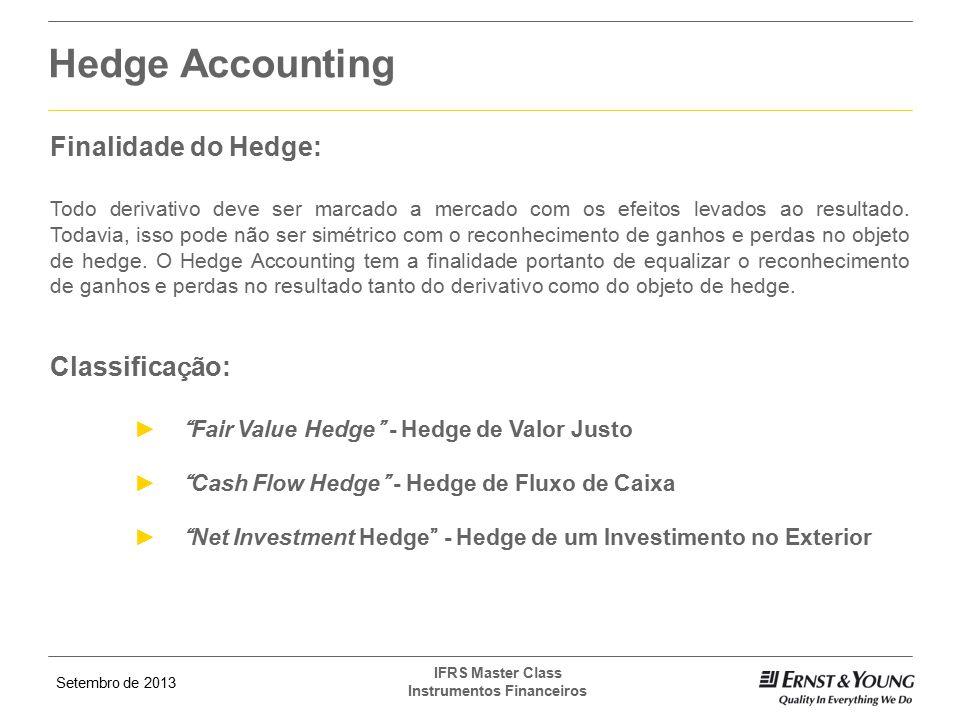 Setembro de 2013 IFRS Master Class Instrumentos Financeiros Finalidade do Hedge: Todo derivativo deve ser marcado a mercado com os efeitos levados ao