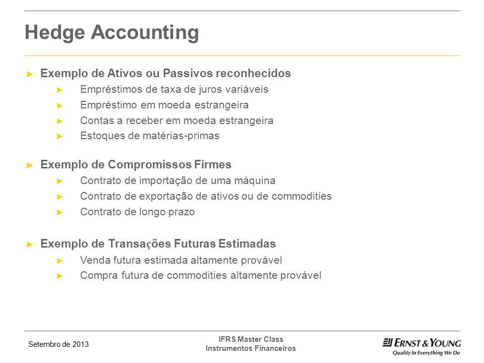 Setembro de 2013 IFRS Master Class Instrumentos Financeiros ► Exemplo de Ativos ou Passivos reconhecidos ► Empréstimos de taxa de juros variáveis ► Em