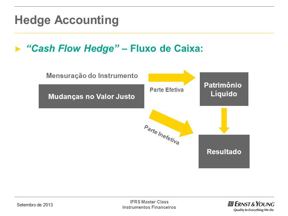 """Setembro de 2013 IFRS Master Class Instrumentos Financeiros ► """"Cash Flow Hedge"""" – Fluxo de Caixa: Hedge Accounting Parte Efetiva Mudanças no Valor Jus"""