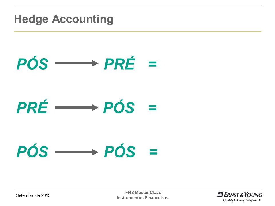 Setembro de 2013 IFRS Master Class Instrumentos Financeiros Hedge Accounting PÓS PRÉ = PRÉ PÓS = PÓS PÓS =