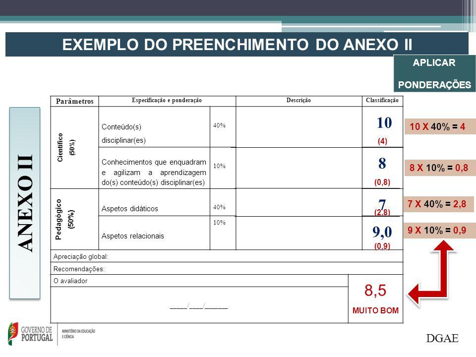 EXEMPLO DO PREENCHIMENTO DO ANEXO II Parâmetros Especificação e ponderaçãoDescriçãoClassificação Científico (50%) Conteúdo(s) disciplinar(es) 40% 10 C