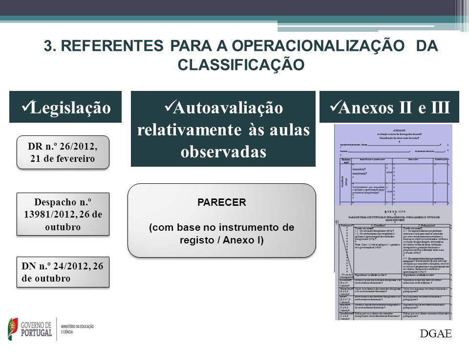 DGAE 3. REFERENTES PARA A OPERACIONALIZAÇÃO DA CLASSIFICAÇÃO Legislação Autoavaliação relativamente às aulas observadas DR n.º 26/2012, 21 de fevereir