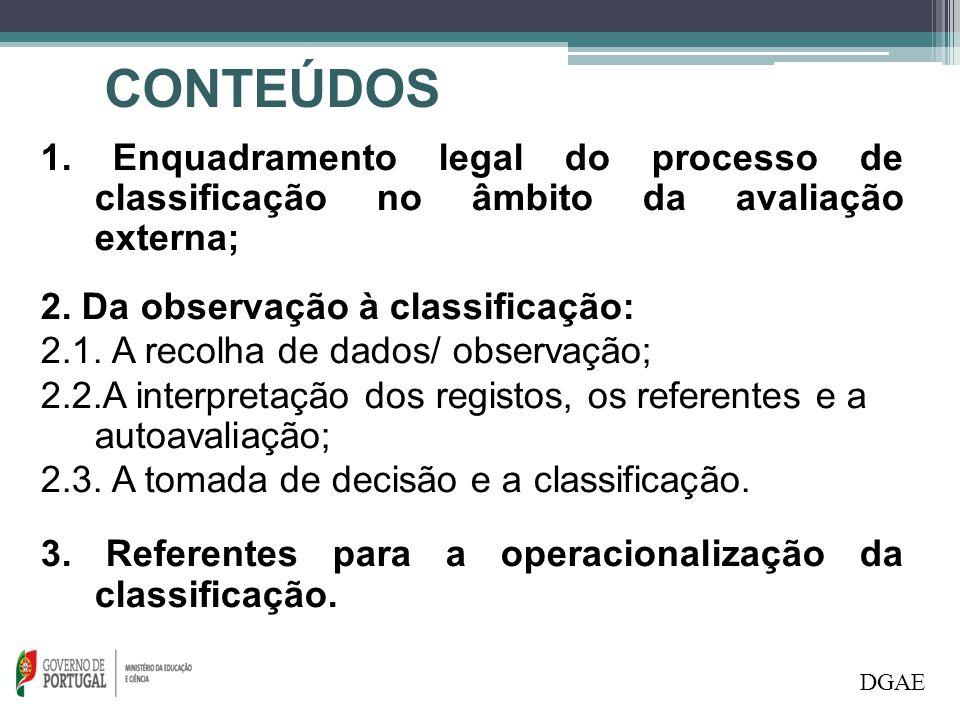 1. Enquadramento legal do processo de classificação no âmbito da avaliação externa; 2. Da observação à classificação: 2.1. A recolha de dados/ observa
