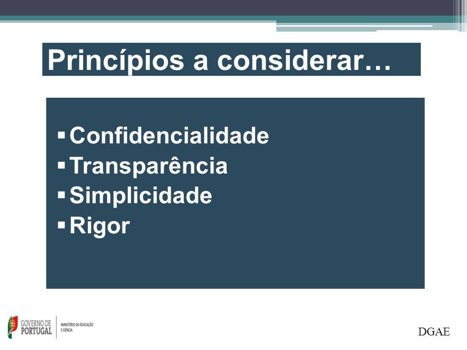 DGAE Princípios a considerar…  Confidencialidade  Transparência  Simplicidade  Rigor