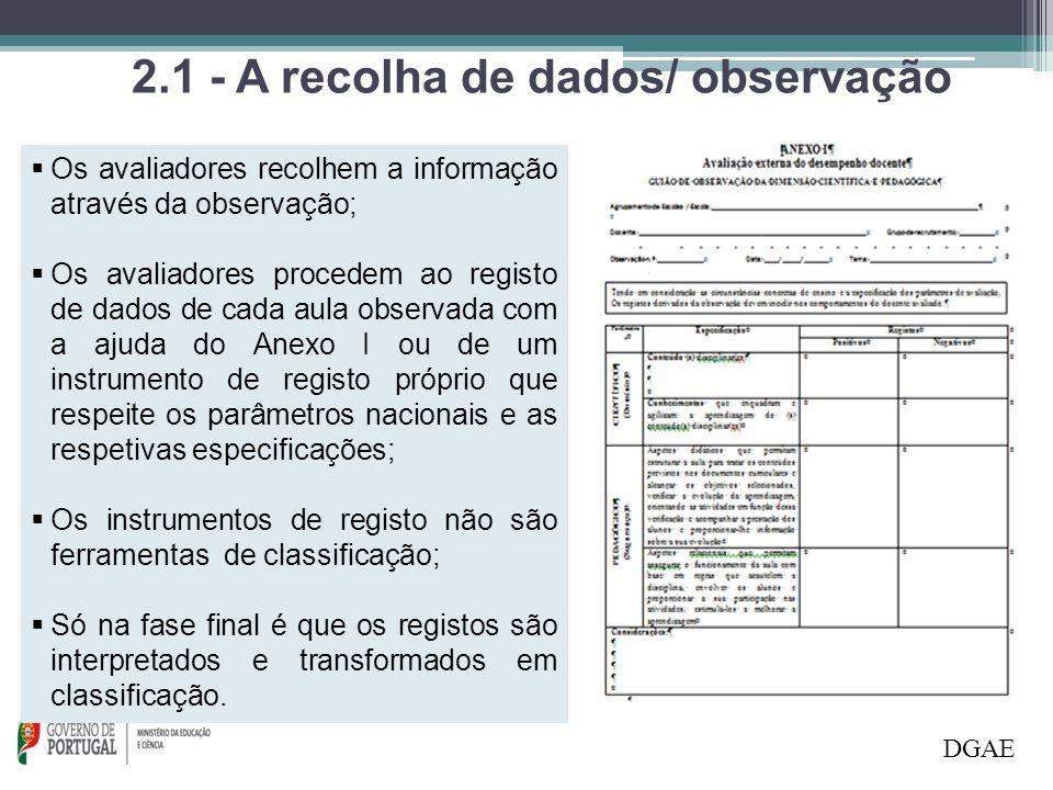 2.1 - A recolha de dados/ observação DGAE  Os avaliadores recolhem a informação através da observação;  Os avaliadores procedem ao registo de dados