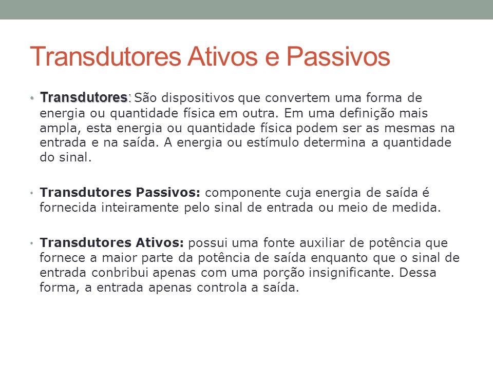 Transdutores Ativos e Passivos Transdutores: Transdutores: São dispositivos que convertem uma forma de energia ou quantidade física em outra. Em uma d