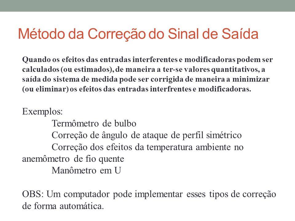 Método da Correção do Sinal de Saída Quando os efeitos das entradas interferentes e modificadoras podem ser calculados (ou estimados), de maneira a te