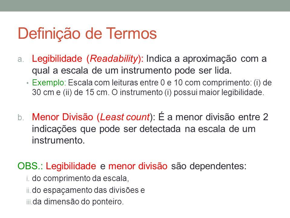 Definição de Termos a. Legibilidade (Readability): Indica a aproximação com a qual a escala de um instrumento pode ser lida. Exemplo: Escala com leitu