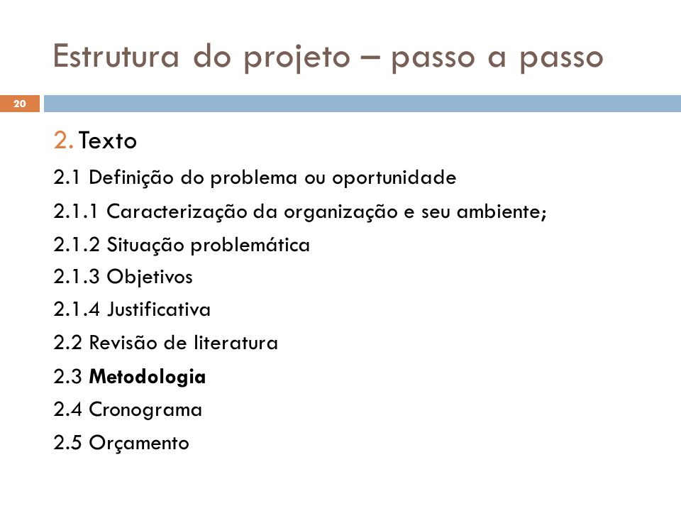 Estrutura do projeto – passo a passo 2.Texto 2.1 Definição do problema ou oportunidade 2.1.1 Caracterização da organização e seu ambiente; 2.1.2 Situa
