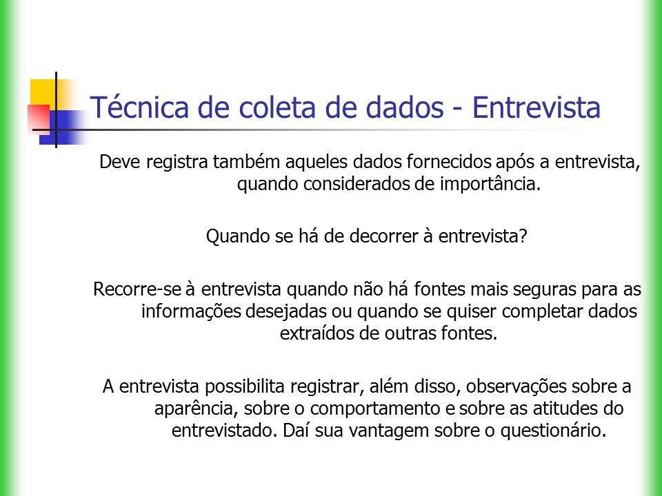 Técnica de coleta de dados - Entrevista Deve registra também aqueles dados fornecidos após a entrevista, quando considerados de importância. Quando se