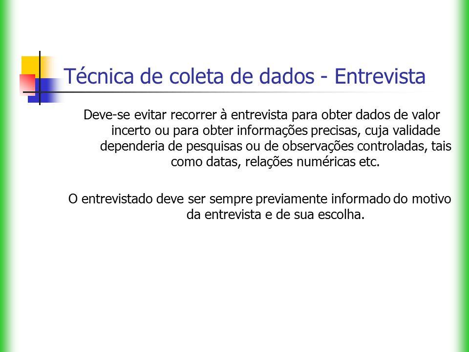 Técnica de coleta de dados - Entrevista Deve-se evitar recorrer à entrevista para obter dados de valor incerto ou para obter informações precisas, cuj