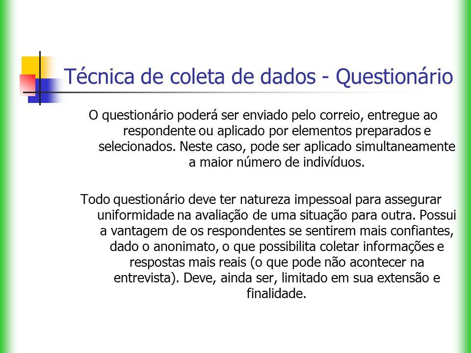 Técnica de coleta de dados - Questionário O questionário poderá ser enviado pelo correio, entregue ao respondente ou aplicado por elementos preparados