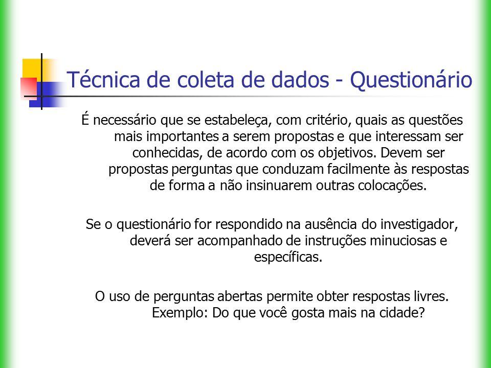 Técnica de coleta de dados - Questionário É necessário que se estabeleça, com critério, quais as questões mais importantes a serem propostas e que int