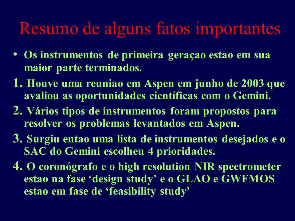 Resumo de alguns fatos importantes Os instrumentos de primeira geraçao estao em sua maior parte terminados.