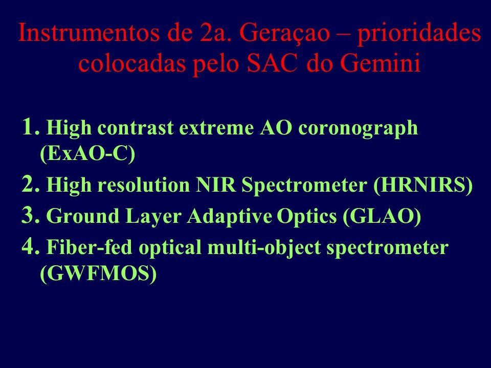 Instrumentos de 2a. Geraçao – prioridades colocadas pelo SAC do Gemini 1.