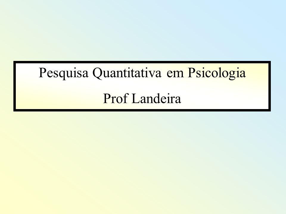 Pesquisa Quantitativa em Psicologia Prof Landeira