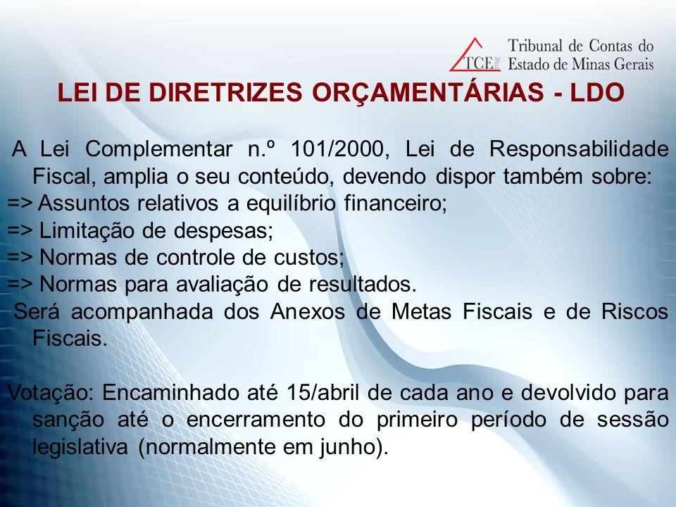 LEI ORÇAMENTÁRIA ANUAL – LOA => Peça fundamental ao cumprimento das finalidades do Estado.