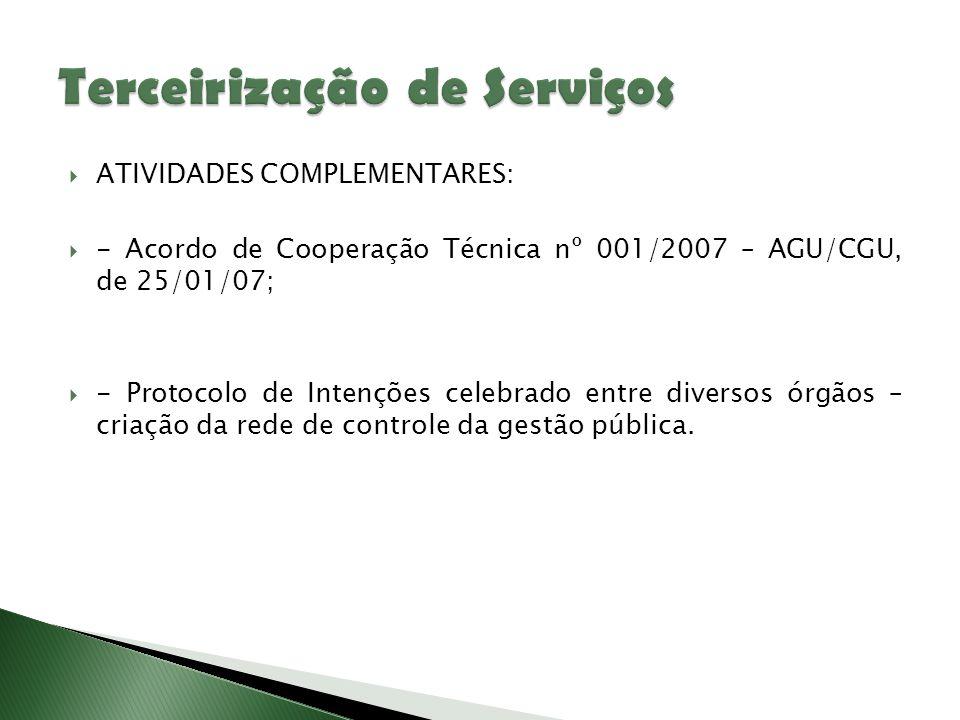  ATIVIDADES COMPLEMENTARES:  - Acordo de Cooperação Técnica nº 001/2007 – AGU/CGU, de 25/01/07;  - Protocolo de Intenções celebrado entre diversos