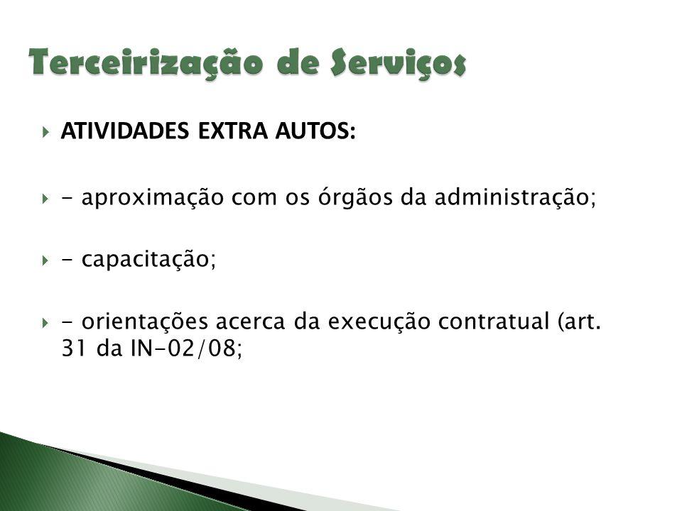  ATIVIDADES EXTRA AUTOS:  - aproximação com os órgãos da administração;  - capacitação;  - orientações acerca da execução contratual (art. 31 da I