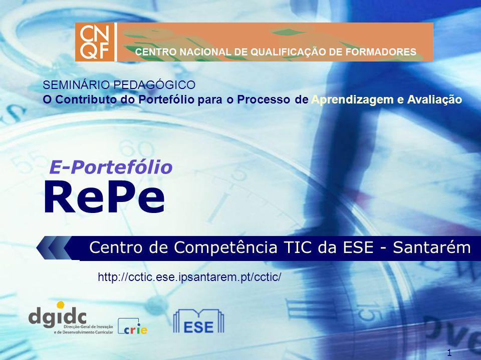 1 RePe Centro de Competência TIC da ESE - Santarém E-Portefólio http://cctic.ese.ipsantarem.pt/cctic/ SEMINÁRIO PEDAGÓGICO O Contributo do Portefólio para o Processo de Aprendizagem e Avaliação
