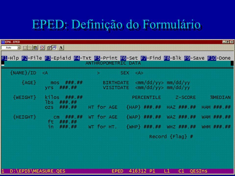 EPED: Definição do Formulário