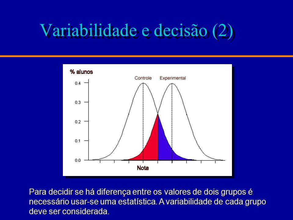 Variabilidade e decisão (2) Para decidir se há diferença entre os valores de dois grupos é necessário usar-se uma estatística.