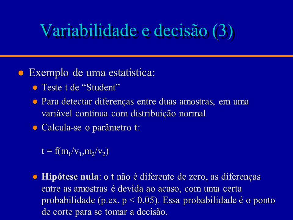 Variabilidade e decisão (3) l Exemplo de uma estatística: l Teste t de Student l Para detectar diferenças entre duas amostras, em uma variável contínua com distribuição normal l Calcula-se o parâmetro t: t = f(m 1 /v 1,m 2 /v 2 ) l Hipótese nula: o t não é diferente de zero, as diferenças entre as amostras é devida ao acaso, com uma certa probabilidade (p.ex.