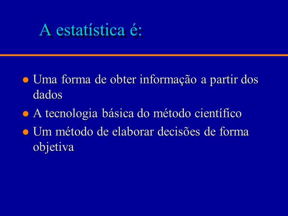 A estatística é: l Uma forma de obter informação a partir dos dados l A tecnologia básica do método científico l Um método de elaborar decisões de forma objetiva