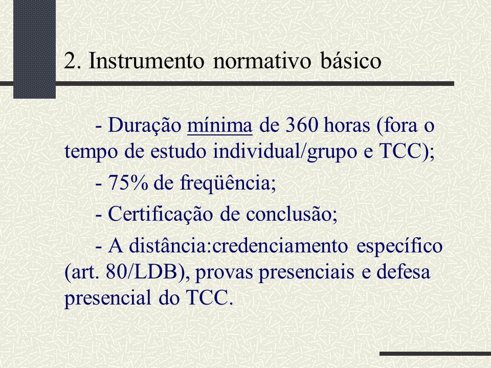 2. Instrumento normativo básico - Duração mínima de 360 horas (fora o tempo de estudo individual/grupo e TCC); - 75% de freqüência; - Certificação de