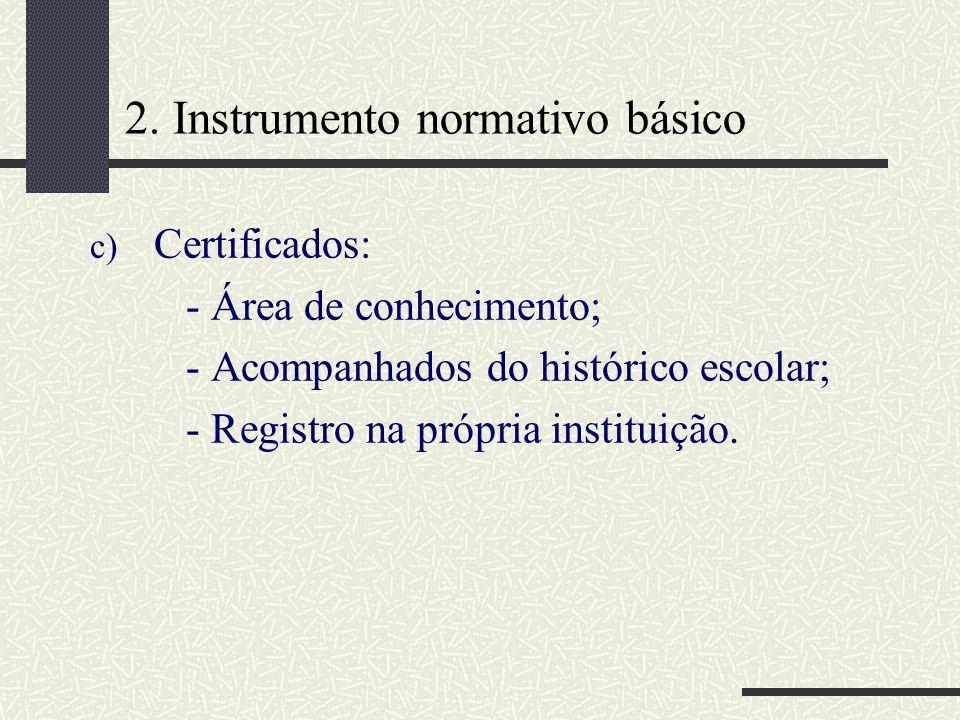 2. Instrumento normativo básico c) Certificados: - Área de conhecimento; - Acompanhados do histórico escolar; - Registro na própria instituição.