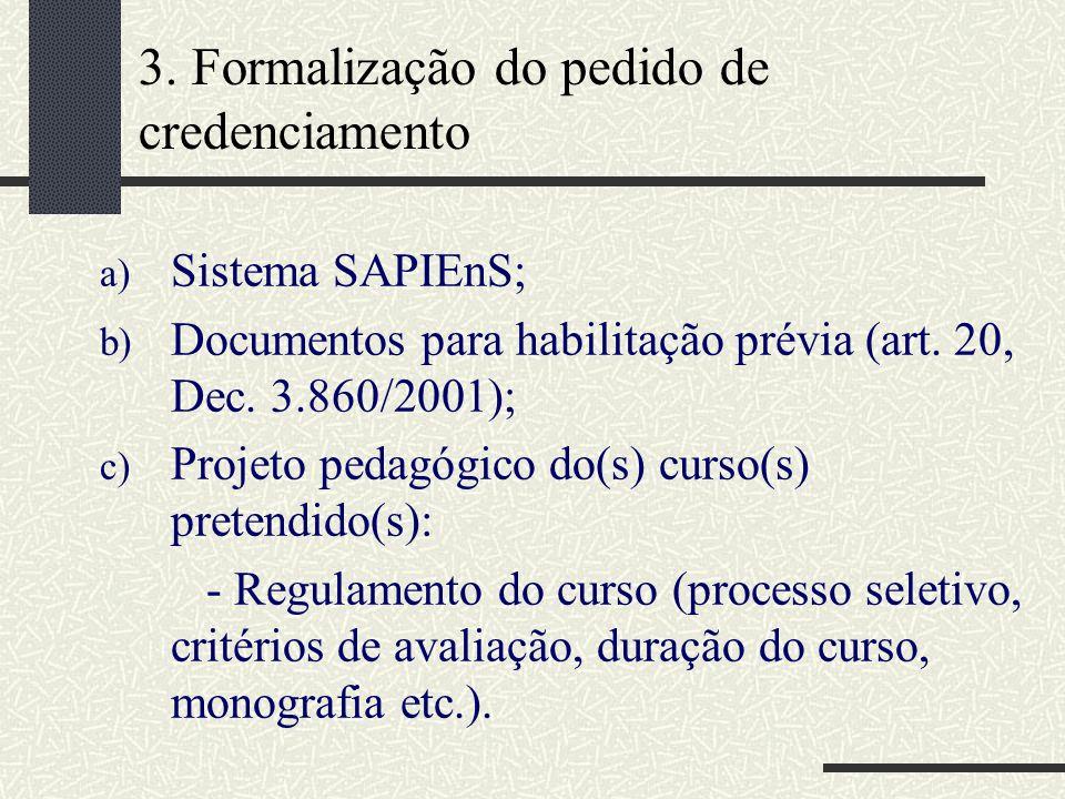 3. Formalização do pedido de credenciamento a) Sistema SAPIEnS; b) Documentos para habilitação prévia (art. 20, Dec. 3.860/2001); c) Projeto pedagógic