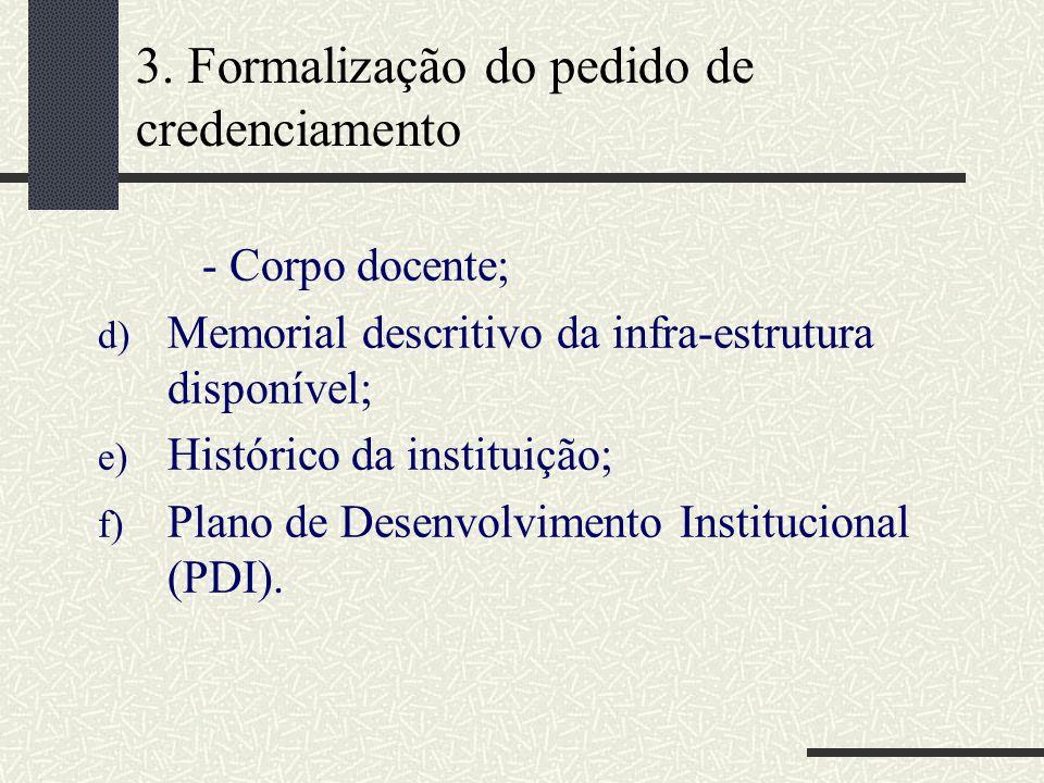 3. Formalização do pedido de credenciamento - Corpo docente; d) Memorial descritivo da infra-estrutura disponível; e) Histórico da instituição; f) Pla