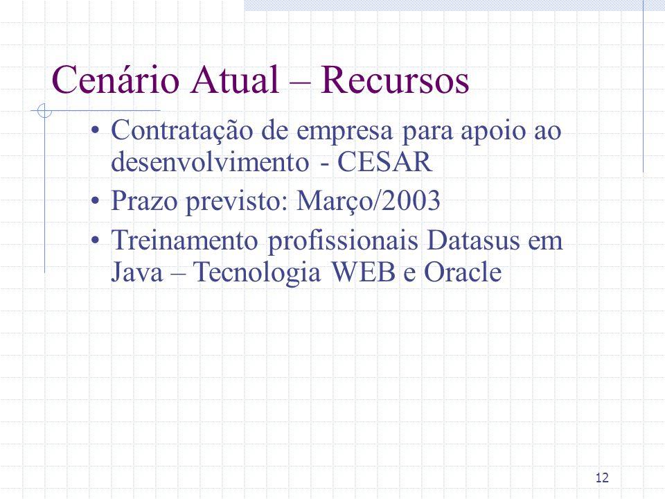 12 Cenário Atual – Recursos Contratação de empresa para apoio ao desenvolvimento - CESAR Prazo previsto: Março/2003 Treinamento profissionais Datasus