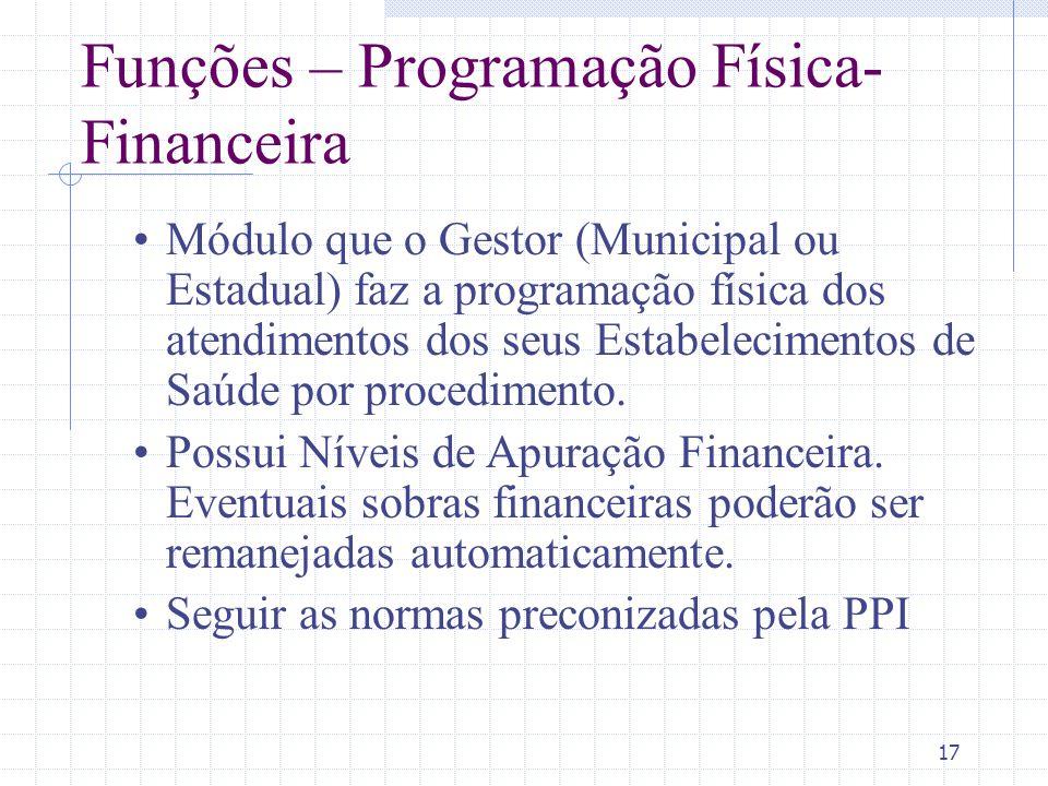 17 Funções – Programação Física- Financeira Módulo que o Gestor (Municipal ou Estadual) faz a programação física dos atendimentos dos seus Estabelecim