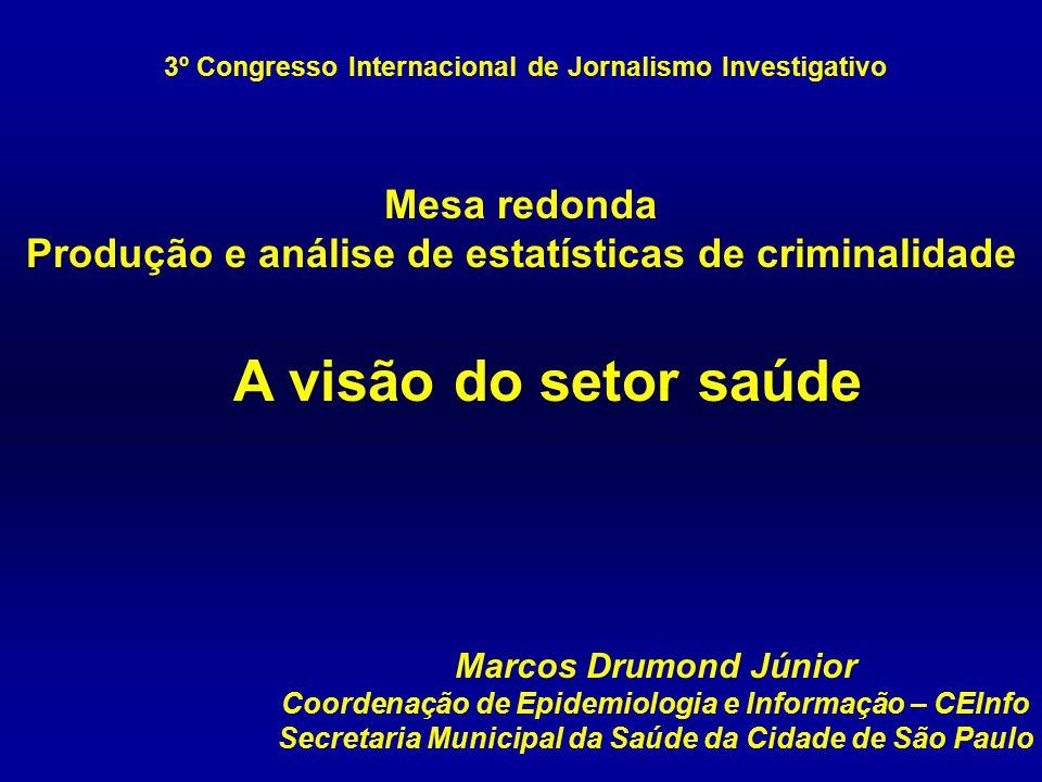 Marcos Drumond Júnior Coordenação de Epidemiologia e Informação – CEInfo Secretaria Municipal da Saúde da Cidade de São Paulo 3º Congresso Internacion