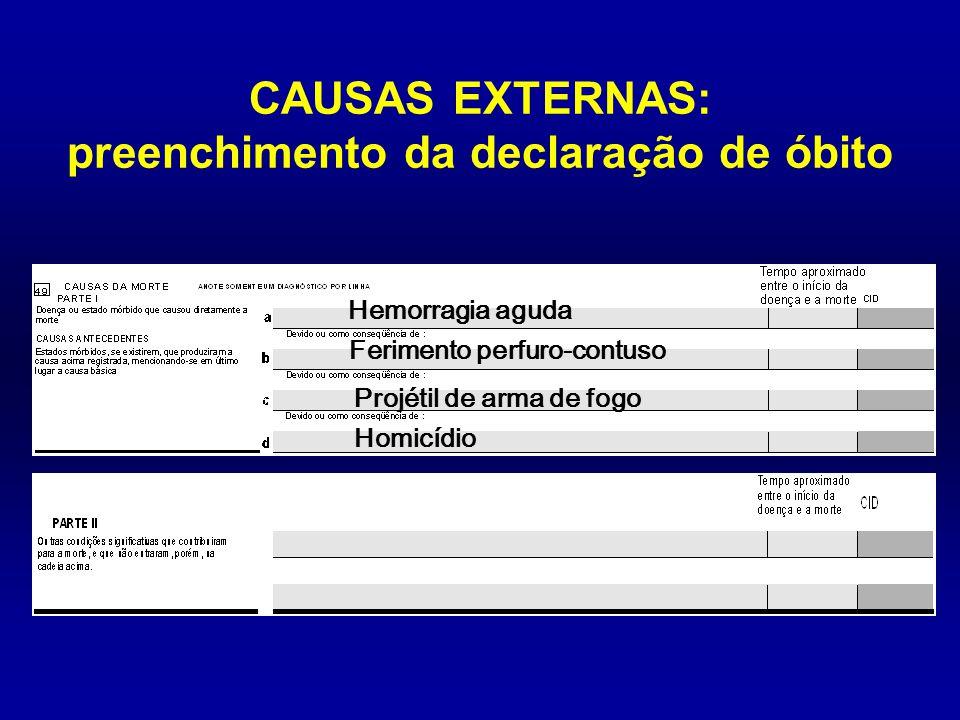 Projétil de arma de fogo CAUSAS EXTERNAS: preenchimento da declaração de óbito Ferimento perfuro-contuso Hemorragia aguda Homicídio