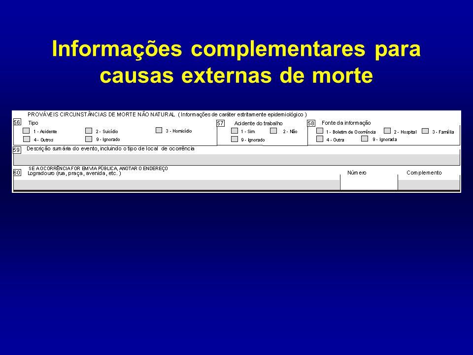 Informações complementares para causas externas de morte