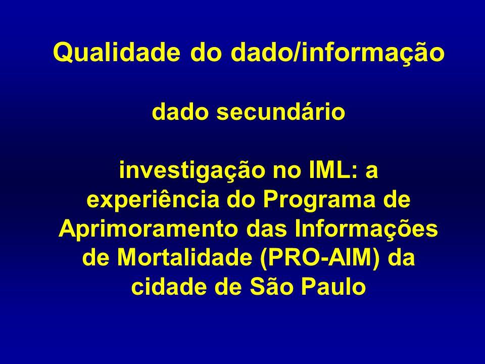 Qualidade do dado/informação dado secundário investigação no IML: a experiência do Programa de Aprimoramento das Informações de Mortalidade (PRO-AIM)