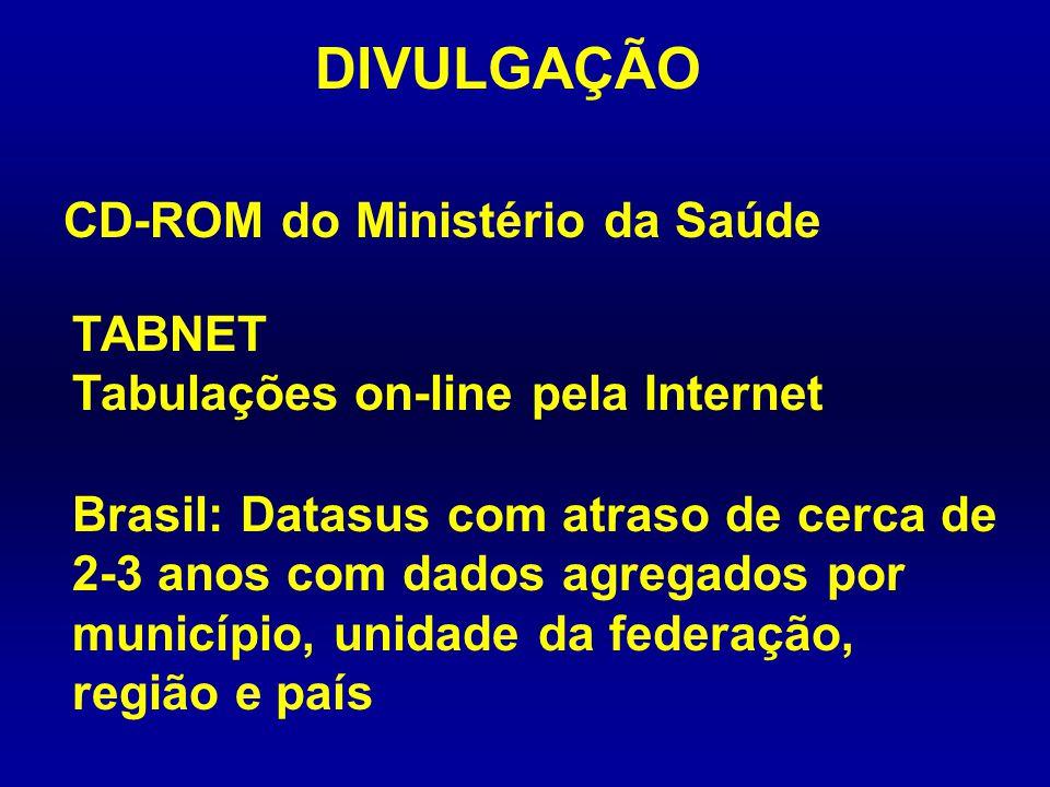 DIVULGAÇÃO CD-ROM do Ministério da Saúde TABNET Tabulações on-line pela Internet Brasil: Datasus com atraso de cerca de 2-3 anos com dados agregados p