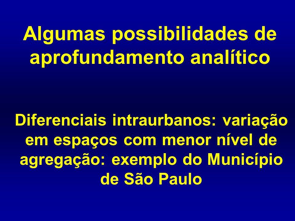 Diferenciais intraurbanos: variação em espaços com menor nível de agregação: exemplo do Município de São Paulo Algumas possibilidades de aprofundament