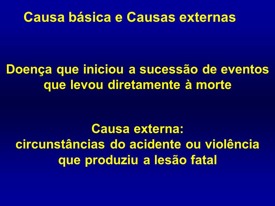 Causa básica e Causas externas Doença que iniciou a sucessão de eventos que levou diretamente à morte Causa externa: circunstâncias do acidente ou vio