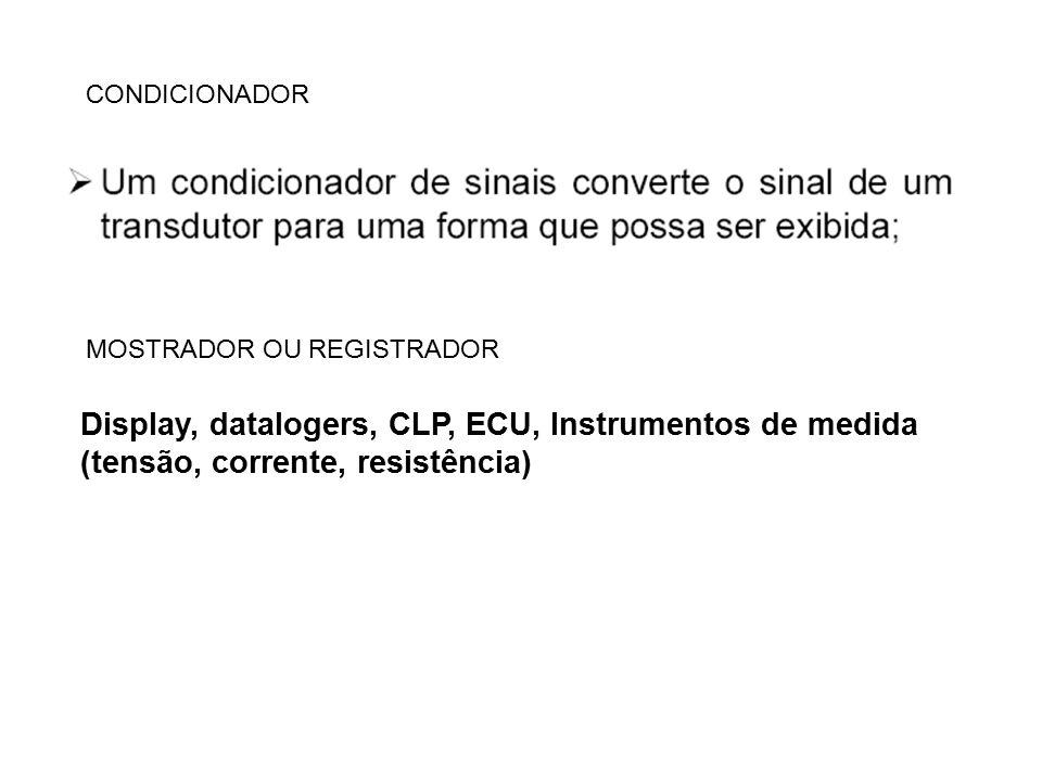 CONDICIONADOR MOSTRADOR OU REGISTRADOR Display, datalogers, CLP, ECU, Instrumentos de medida (tensão, corrente, resistência)