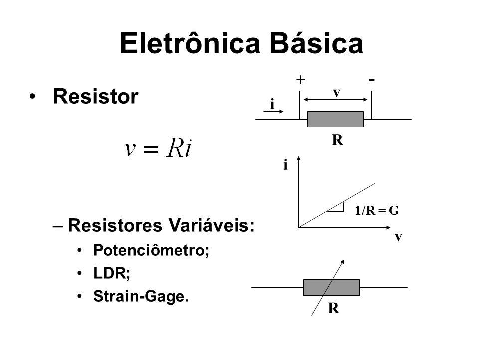 Eletrônica Básica Resistor –Resistores Variáveis: Potenciômetro; LDR; Strain-Gage. R R v i + - v i 1/R = G