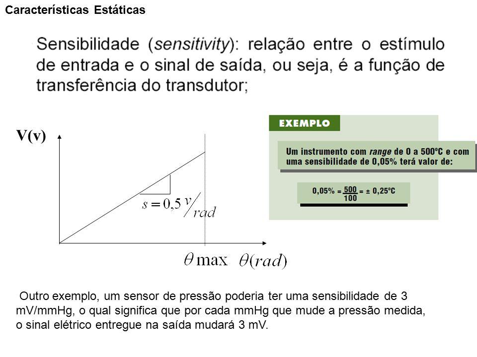 V(v) Características Estáticas Outro exemplo, um sensor de pressão poderia ter uma sensibilidade de 3 mV/mmHg, o qual significa que por cada mmHg que