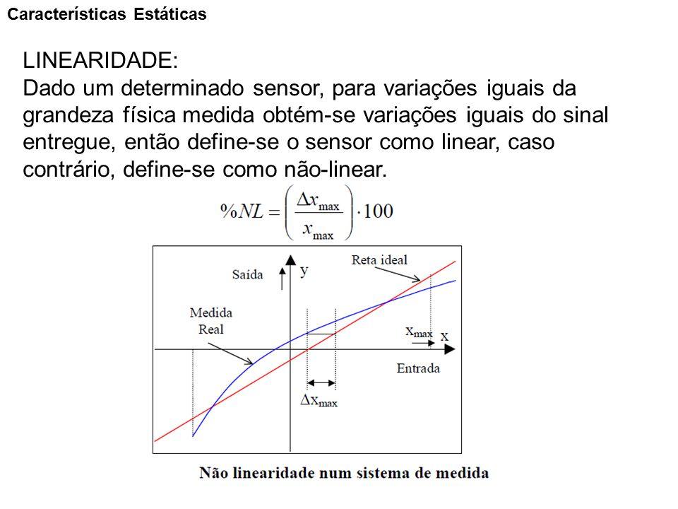 Características Estáticas LINEARIDADE: Dado um determinado sensor, para variações iguais da grandeza física medida obtém-se variações iguais do sinal