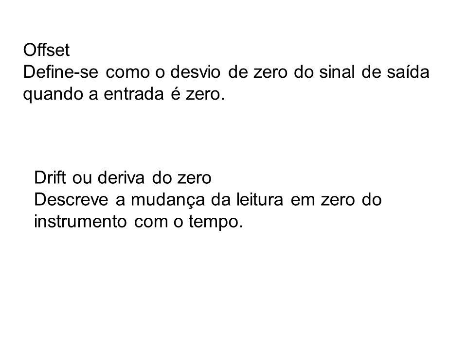Offset Define-se como o desvio de zero do sinal de saída quando a entrada é zero. Drift ou deriva do zero Descreve a mudança da leitura em zero do ins