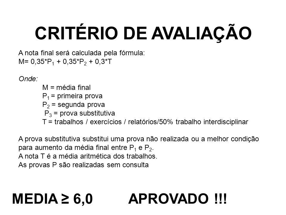 CRITÉRIO DE AVALIAÇÃO MEDIA ≥ 6,0 APROVADO !!! A nota final será calculada pela fórmula: M= 0,35*P 1 + 0,35*P 2 + 0,3*T Onde: M = média final P 1 = pr