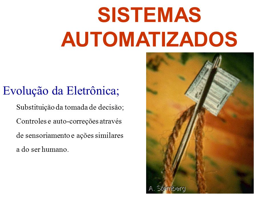 SISTEMAS AUTOMATIZADOS Evolução da Eletrônica; Substituição da tomada de decisão; Controles e auto-correções através de sensoriamento e ações similare