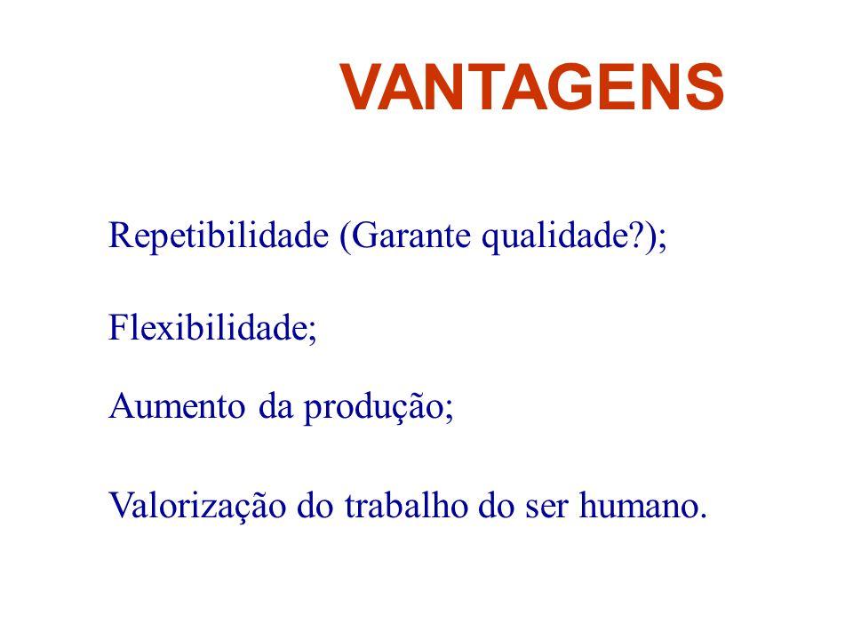 VANTAGENS Repetibilidade (Garante qualidade?); Flexibilidade; Aumento da produção; Valorização do trabalho do ser humano.