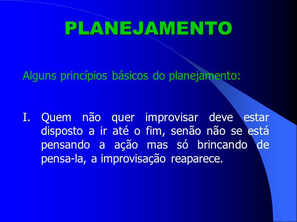 PLANEJAMENTO Alguns princípios básicos do planejamento: I.